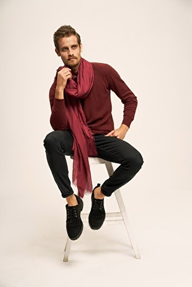 Silk and Cashmere Kazak Bordo